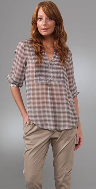 Joie Channing Grunge Plaid Top
