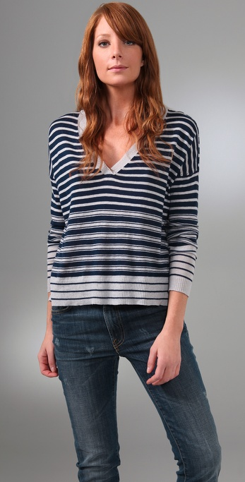 Joie Jeanie Striped V Neck Sweater