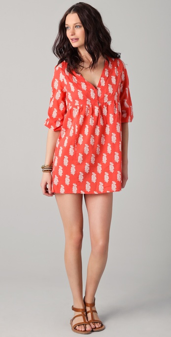 Joie Collie Leaf Print V Neck Cover Up