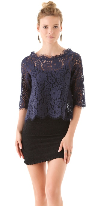 Joie Elvia Back Button Lace Top