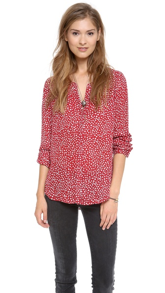 Joie Moema Scattered Hearts Blouse