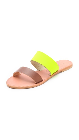 Two Band Sandals :  shopbop leather joie neon