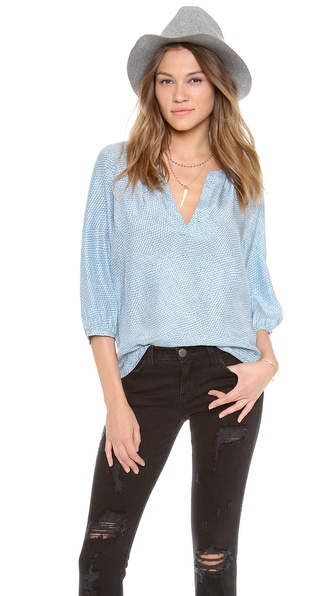Joie Coralee Blouse - Dusty Chambray W/ Porcelain at Shopbop / East Dane