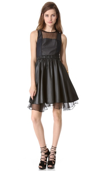 Jonathan Simkhai Blocked Taffeta Dress