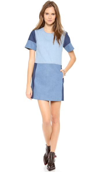 Jonathan Simkhai Blocked Denim Tee Dress - Denim Combo