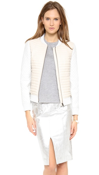Jonathan Simkhai Leather Blocked Bomber
