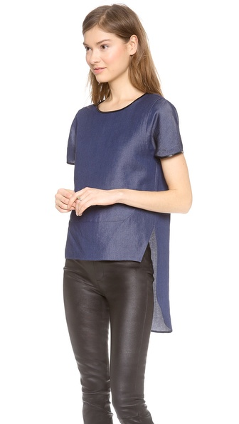 Jonathan Simkhai High Low Western Denim Top - Denim at Shopbop / East Dane