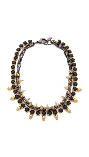 Joomi Lim Baroque Punk Crystal Skull & Spike Necklace