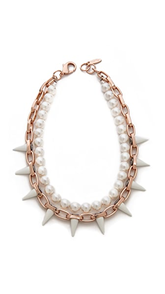 Joomi Lim White Out Chain & Spikes Necklace