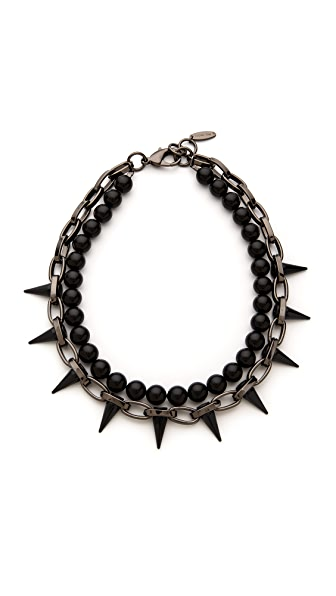Joomi Lim Black Out Chain & Spike Pearl Necklace