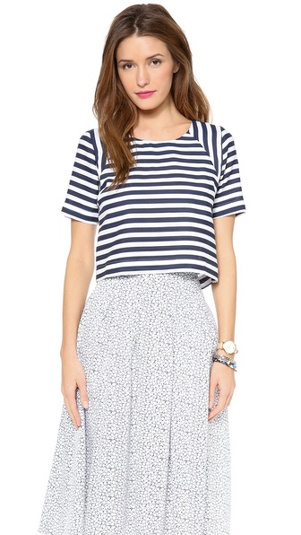 JOA Striped Short Sleeve Top