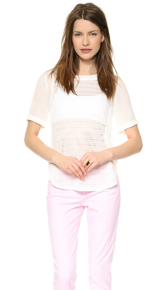 JOA Striped Half Sleeve Top