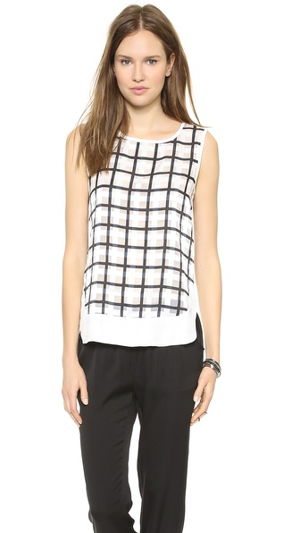 JOA Check Print Sleeveless Top
