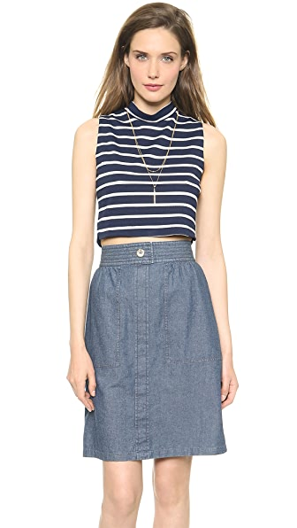 J.O.A. Striped Standing Neck Crop Top
