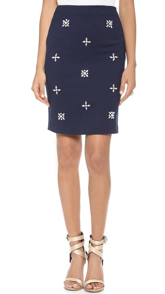 JOA Embellished Pencil Skirt
