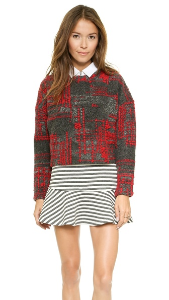 Joa Knit Top With Check Pattern - Charcoal/Red