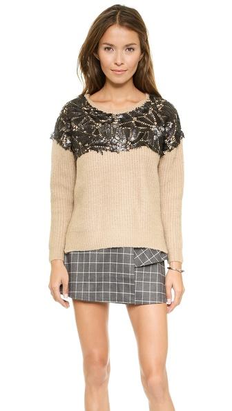 Joa Sweater With Embellished Yoke - Camel
