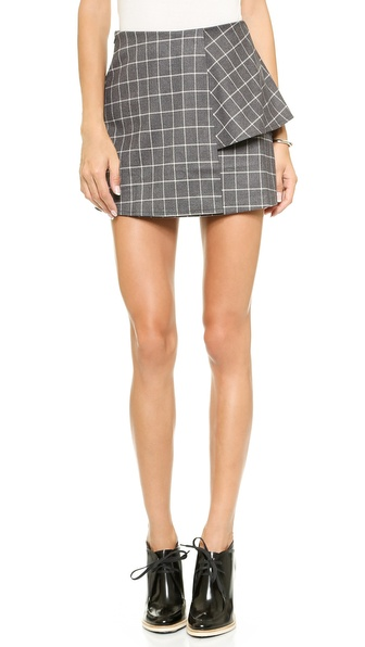 Joa Structured Skirt In Checks - Charcoal