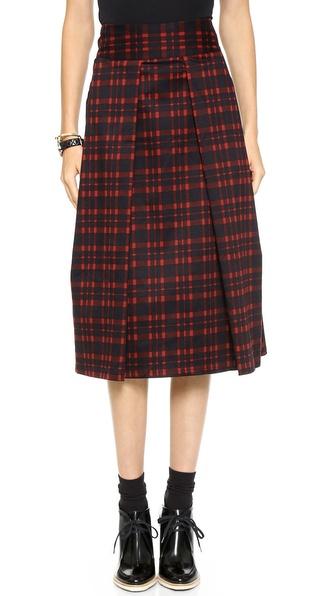Joa Pleated Long Skirt In Checks - Red