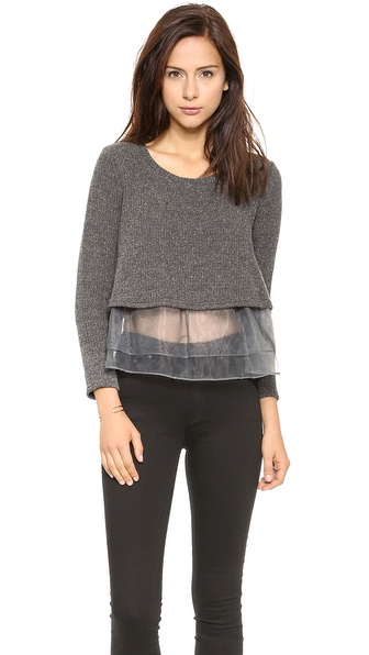 Joa Organza Frilled Wasy Sweater - Charcoal