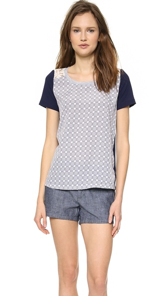 JOA Printed Top With Contrast Lace