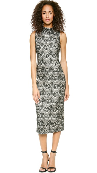 JOA Lace Bonded Knit Dress