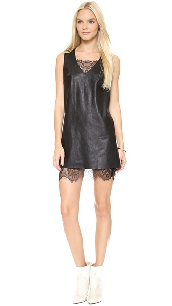 JOA Leather Dress with Lace Hem