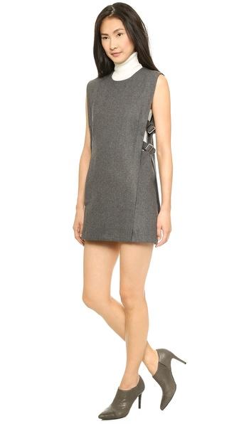 JOA Sleeveless Woolen Dress with Buckle Detail