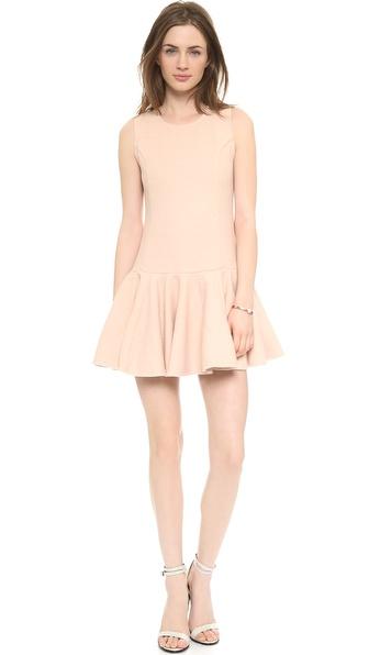 JOA Neoprene Sleveless Dress with Pleated Hem