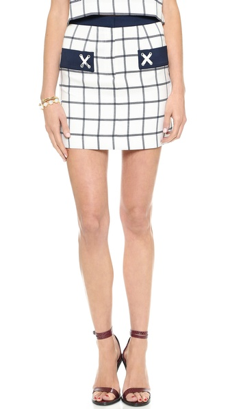 JOA Plaid Woven Skirt with Pocket Detail