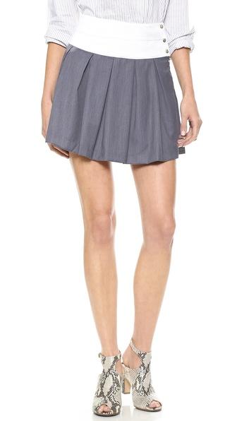 JOA Pleats Skirt with Contrast Waistband