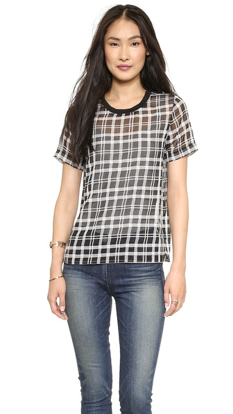JOA Checked Organza T-Shirt