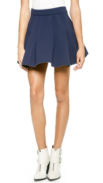 Joa Pleated Neoprene Skirt - Navy