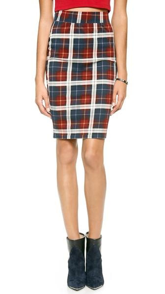JOA Checked Pencil Skirt