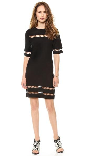 JOA Short Sleeve Dress with Mesh Inserts
