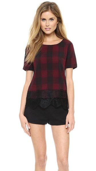 JOA Plaid Top