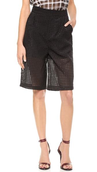 JOA Checked Organza Shorts