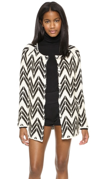 JOA Chevron Stripe Cardigan