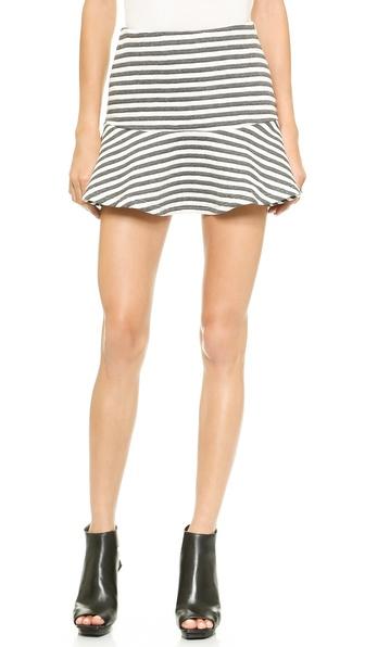 Joa Striped Embo Skirt - Charcoal/White