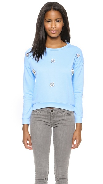 Joa Embellished Pullover - Baby Blue