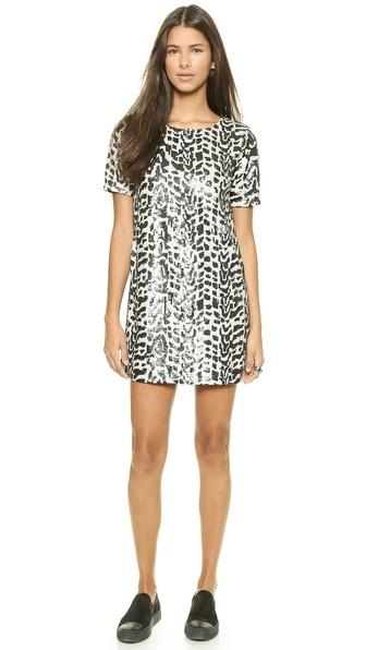 Shop JOA online and buy Joa Sequin Jungle Dress Black/White online
