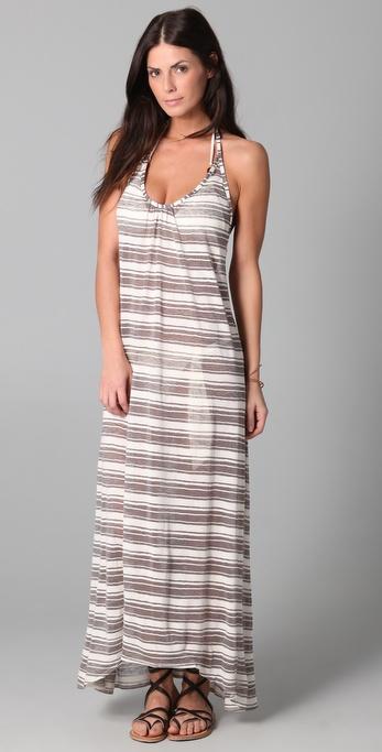 JOSA tulum Striped Low Back Halter Dress