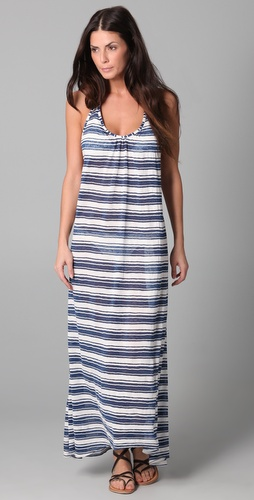 JOSA tulum Striped Low Back Halter Cover Up Dress