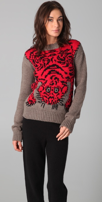 Joseph Crew Neck Tiger Sweater