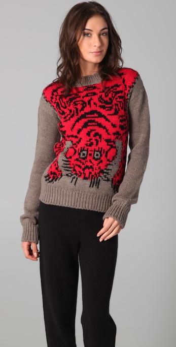 Joseph Crew Neck Tiger Sweater