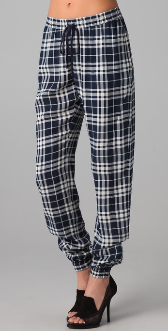 Joseph Staten Drawstring Plaid Pants