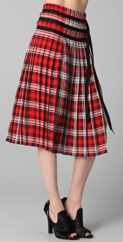 Joseph Glen Plaid Skirt with Slits