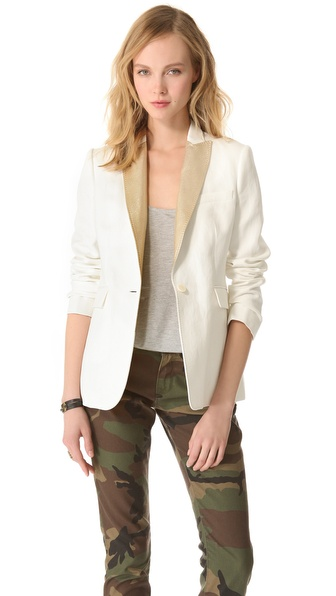 Joseph Metallic Leather Collar Blazer