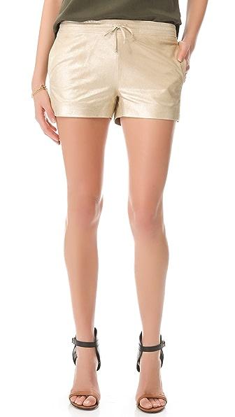 Joseph Metallic Leather Shorts