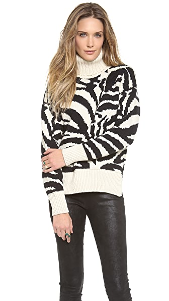 Joseph Zebra Turtleneck Sweater